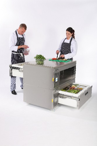 Adande Refrigerated Pass Through Prep Counter with Solid Worktop and Standard Castors VCM2/CW